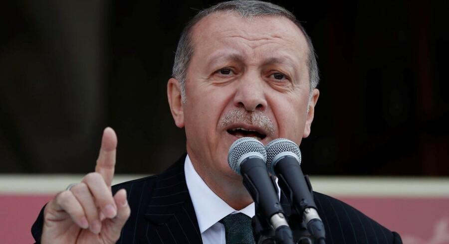 Den tyrkiske præsident Tayyip Erdogan under en tale i Istanbul 4. maj 2018.