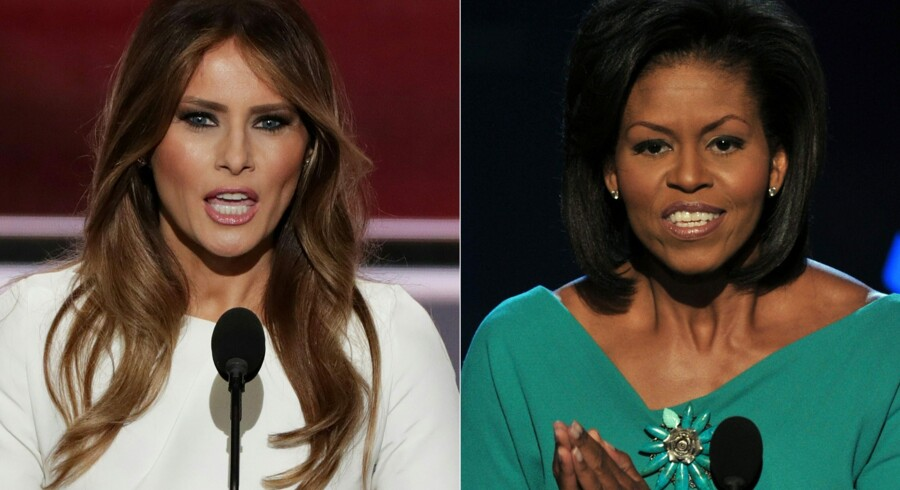 Melania Trump beskyldes for at have plagieret dele af sin tale fra Michelle Obama. Scanpix/Alex Wong, Paul J. Richards