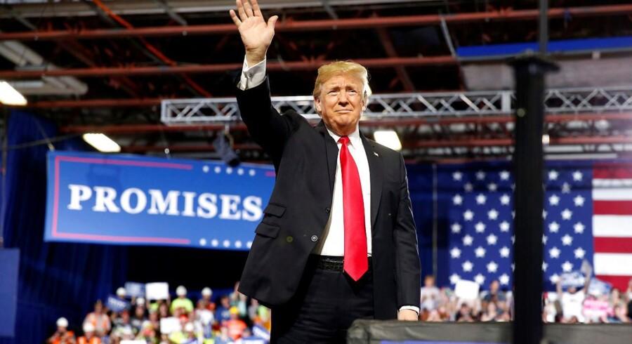 USAs præsident Donald Trump vinker til »Make America Great Again«-rally i Montana den 5. juli 2018. REUTERS/Joshua Roberts