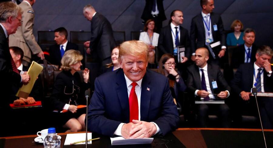 Donlad Trump elsker at være midtpunkt. Her ses han under NATO-topmødet i Bruxelles.