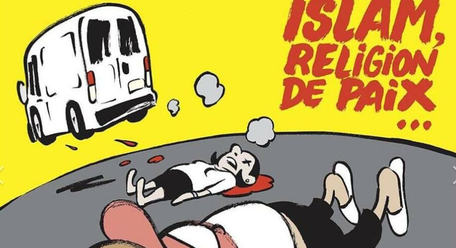 Udriv af den nye forside på Charlie Hebdo. Se den fulde forside nede i artiklen.