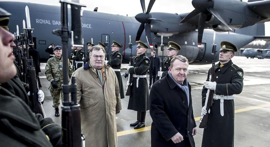 Statsminister Lars Løkke Rasmussen (V) og forsvarsminister Claus Hjort Frederiksen ankommer til Litauen, hvor de blandt andet ser Danmarks NATO-bidrag, som er en del af NATO Enhanced Forward Presence, mandag den 15. januar 2018.