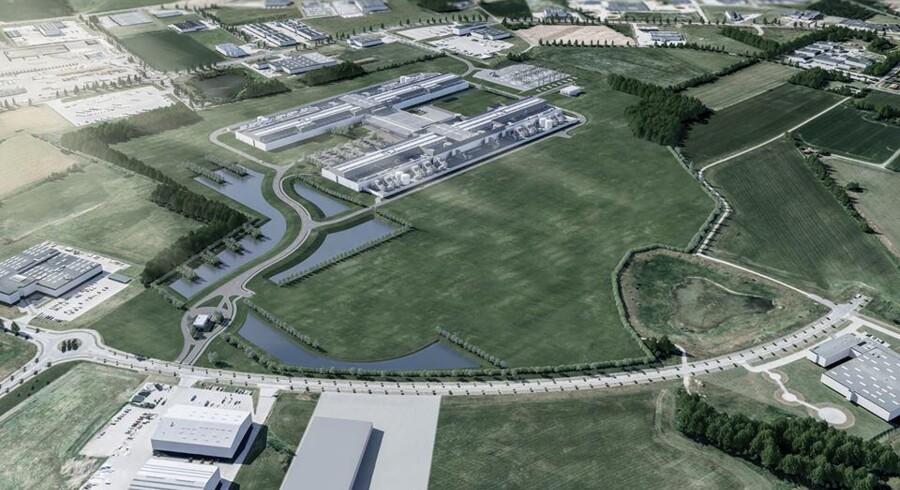 Facebook udvider nu sit datacenter i Luleå i Nordsverige, samtidig med at byggeriet af datacenteret i Odense (illustrationen) er i fuld gang. Foto: Facebook