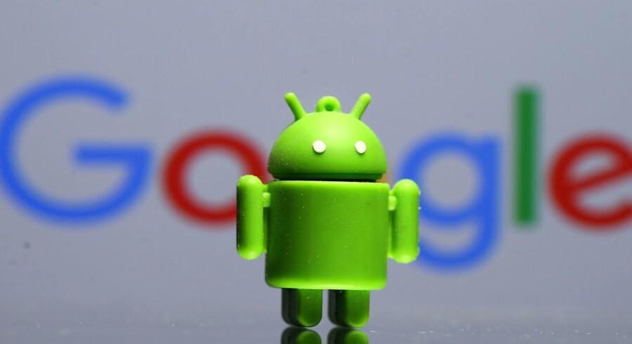 Google står til en ny bøde på mange milliarder kroner for at have misbrugt sin kontrol med mobilstyresystemet Android, her personificeret ved logorobotten Bugdroid.