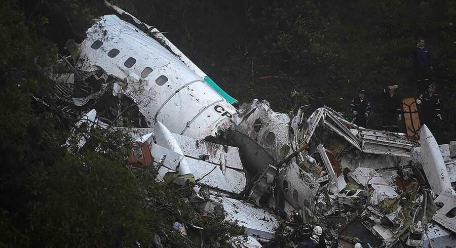 Her ses flyvraget af Lamia-flyet, der er styrtet ned i bjergene ved Cerro Gordo. / AFP PHOTO / Raul ARBOLEDA