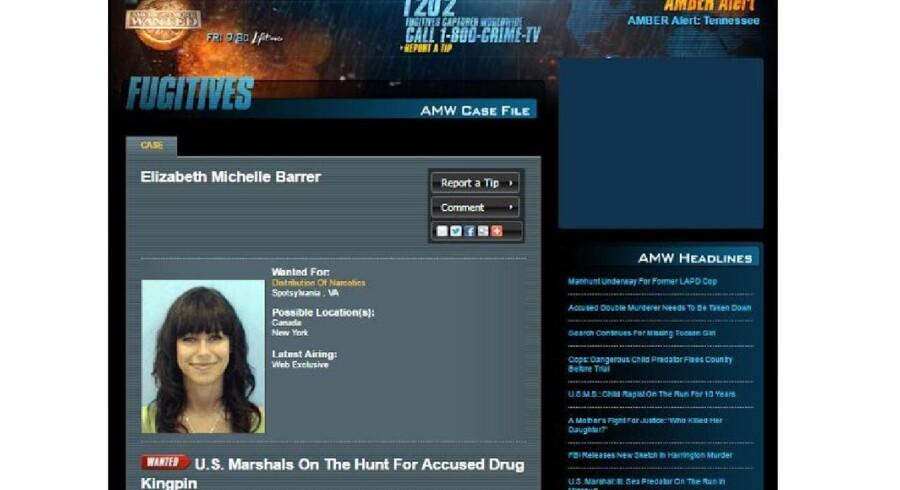 Et skærmklip fra hjemmesiden hos America's Most Wanted, hvor Elizabeth Barrer blev efterlyst. Sagen er blevet aktuel, fordi en gammel kæreste online fortæller om sin jagt på sin tidligere kærlighed - og finder sandheden.