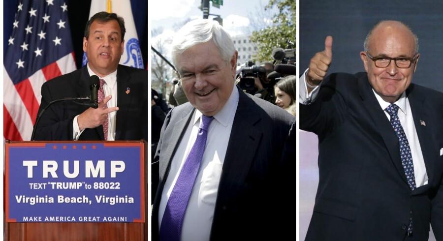 Arkivfoto. Tre personer er udpeget til at pakke den valgte præsident Donald Trump grundigt ind de første 100 dage i Det Hvide Hus.De tre er New Jerseys guvernør, Chris Christie, den tidligere formand for Repræsentanternes Hus Newt Gingrich, og New Yorks tidligere borgmester Rudy Giuliani.