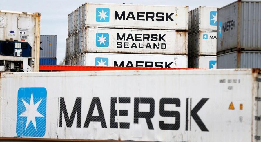 A.P. Møller-Mærsk fastholdt i sit regnskab forventningerne til 2018 og sigter dermed fortsat efter et driftsoverskud før af- og nedskrivninger, EBITDA, på 4-5 mia. dollar for den fortsættende forretning. / AFP PHOTO / CHARLY TRIBALLEAU