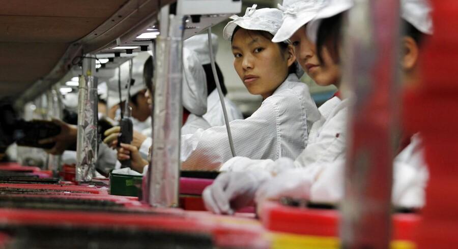 Arbejdere påFoxconn-fabrikken i Kina, der fremstiller Apple-produkter.