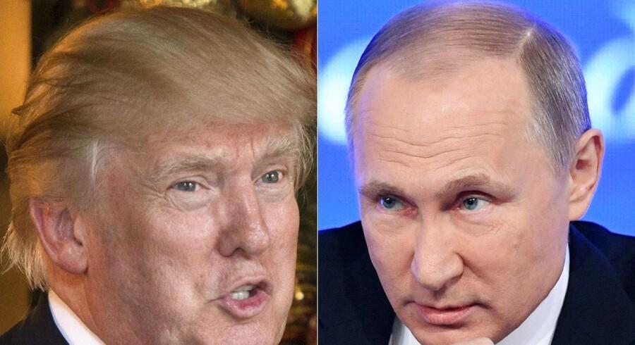 Trumps beundring af Putin vækker uro både i USA og i NATO / AFP PHOTO / DON EMMERT AND Natalia KOLESNIKOVA. (Foto: DON EMMERT, NATALIA KOLESNIKOVA/Scanpix 2016)