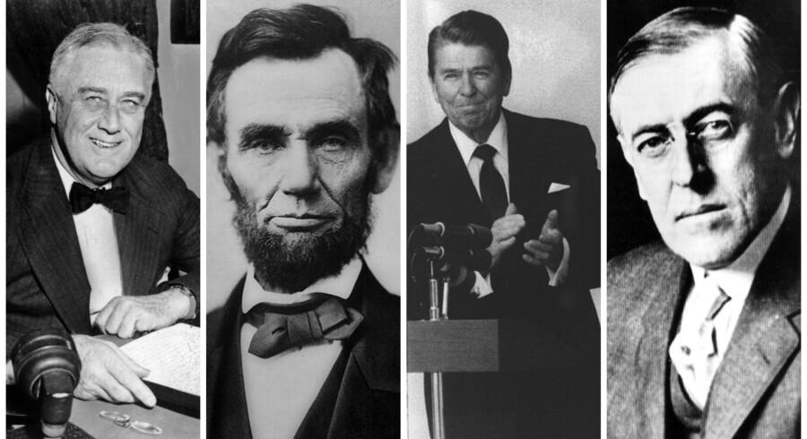 Listen er lang over amerikanske præsidenter, der har sat sig spor i deres eftertid. Blandt dem er (fra venstre) Franklin D. Roosevelt, Abraham Lincoln, Ronald Reagan og Woodrow Wilson.
