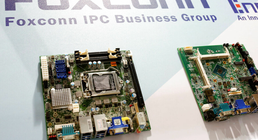 FILE PHOTO: Foxconn's computer motherboards are seen during the annual Computex computer exhibition in Taipei, Taiwan June 1, 2016. REUTERS/Tyrone Siu/File Photo TEMPLATE OUT