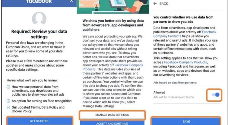 Facebook har som standardindstilling valgt, at man siger ja til mest muligt, påpeger det norske Forbrukerrådet i sin store rapport. Foto fra rapporten »Deceived by design« (Bedraget af design)