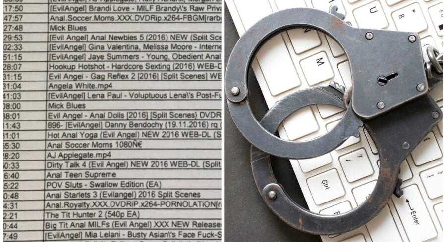 Mange af de sager, hvor advokatfirmaer kræver brugeroplysninger udleveret fra de danske teleselskaber, handler om ulovligt downloadede pornofilm, som udsnittet af listen fra advokaterne til venstre viser. Teleselskaberne har protesteret, fordi de loggede data kræves indsamlet til sager om grov kriminalitet og terror. Foto: Iris/Scanpix