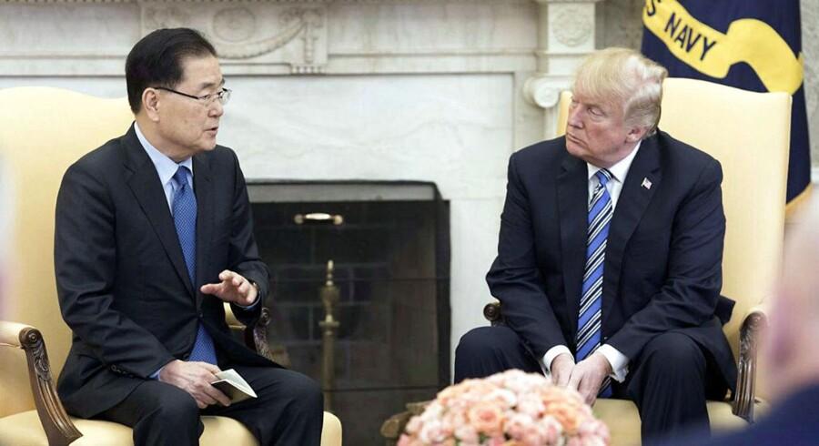 Et muligt gennembrud mellem det internationale samfund og det stalinistiske Nordkorea er på vej. USA's præsident, Donald Trump, mødes senest ved udgangen af maj med Nordkoreas diktator, Kim Jong-un. (Foto: YONHAP/Scanpix 2018)