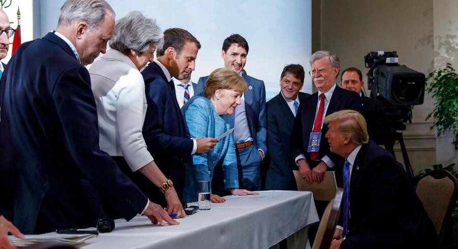 G-7 mødet. De øvrige seks diskuterer med den amerikanske præsident Donald Trump i Charlevoix city i Quebec, Canada, den 9. Juni 2018. Adam Scotti/Prime Minister's Office/Handout via REUTERS.