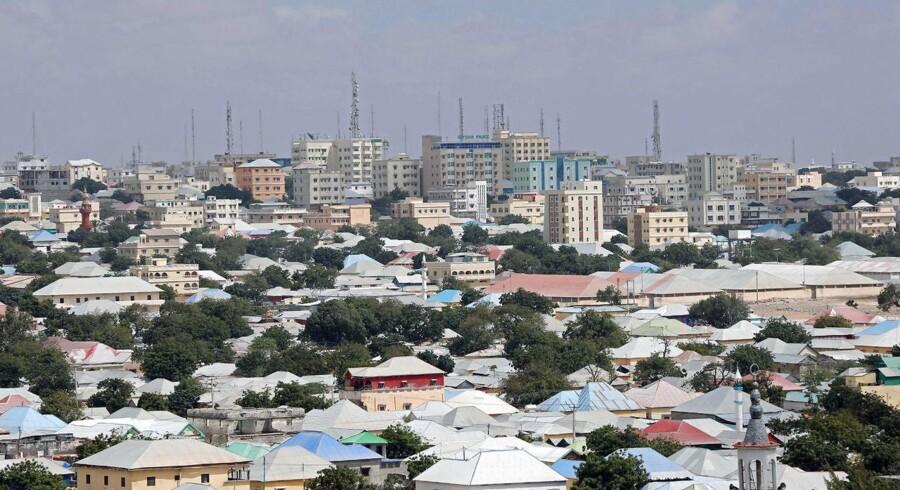 Et luftfotografi af Mogadishu i Somalien.