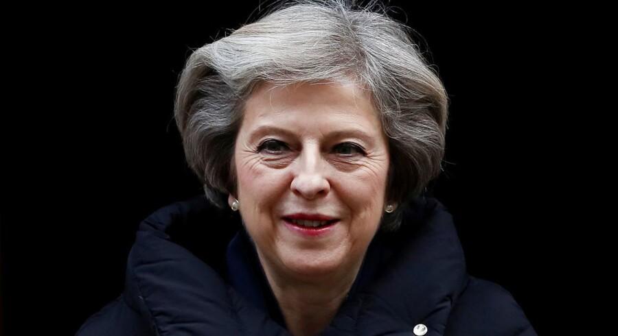 Den britiske premierminister, Theresa May, vil tirsdag fastslå, at hun ønsker at gennemføre Brexit med et fuldstændig britisk brud med EU. Arkivfoto: Reuters