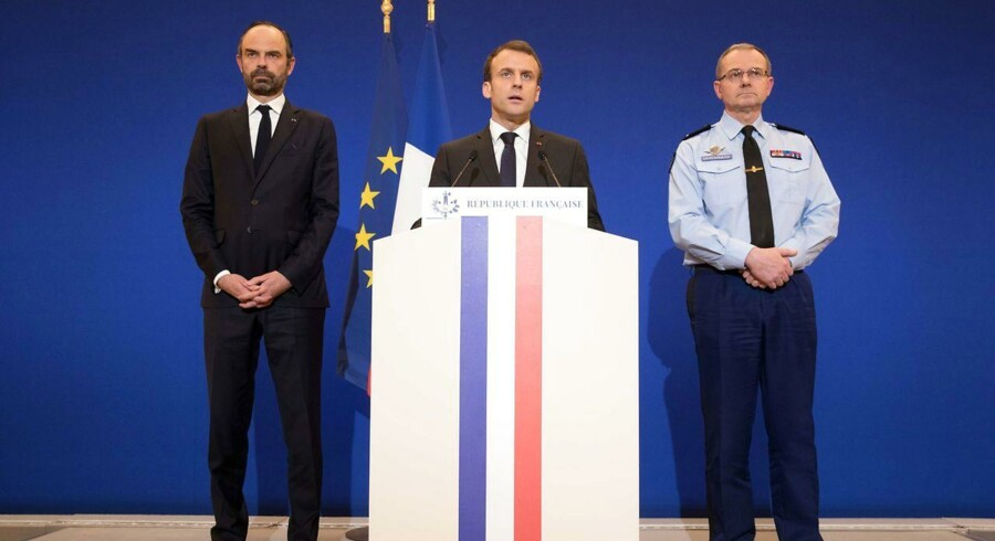 Emmanuel Macron, fransk præsident, holder tale. Det ser bedre ud for den franske økonomi end først ventet, viser nye tal.