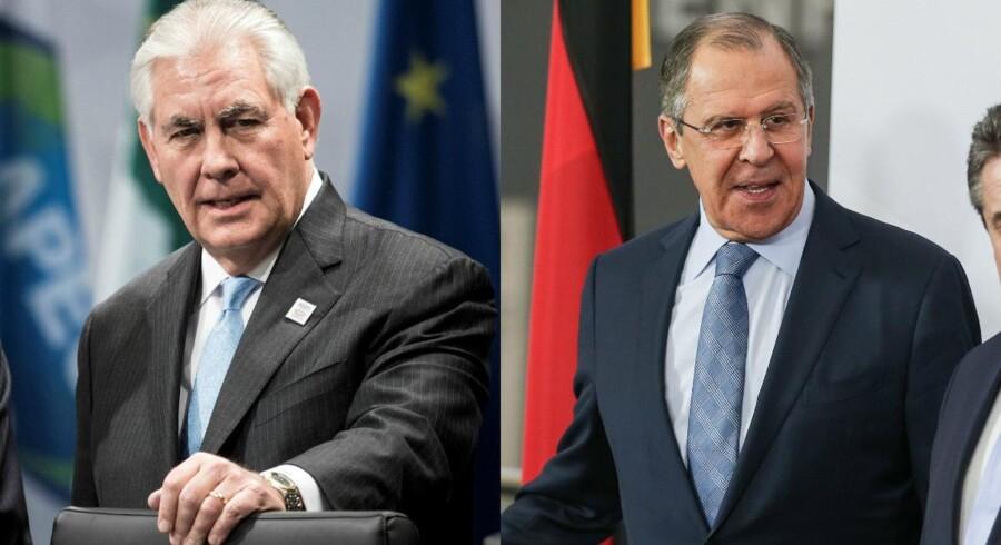 USA's nye udenrigsminister Rex Tillerson (tv) og Ruslands udenrigsminister Sergej Lavrov (th). Fotos: Scanpix.