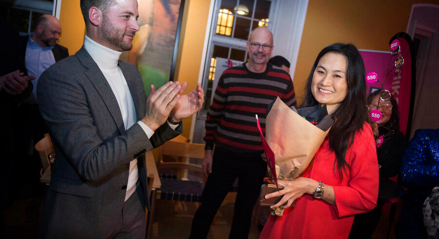 Mia Nyegaard og Morten Østergaard hos De Radikale i Vartovs festsal under Kommunalvalget 2017, tirsdag den 21. november 2017.. (Foto: Liselotte Sabroe/Scanpix 2017)