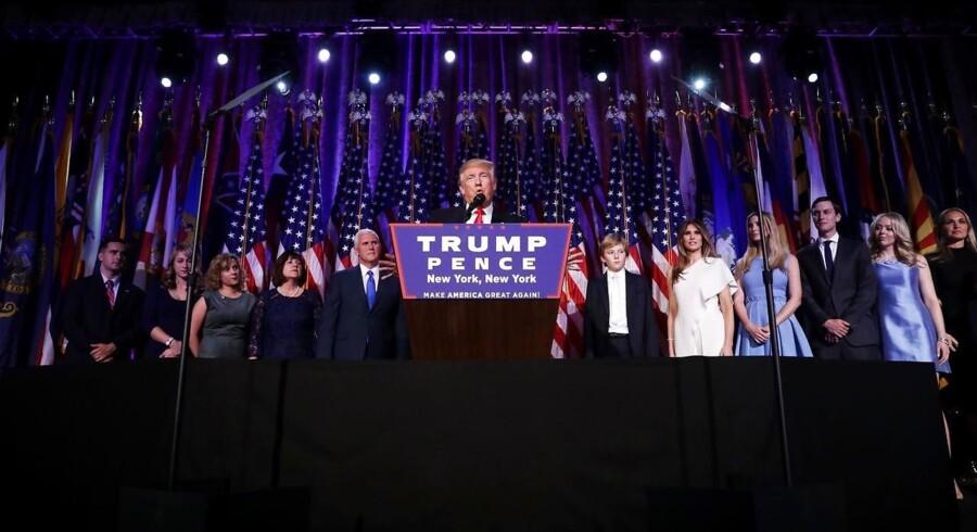 Donald Trump holder sejrstale onsdag morgen, dansk tid.