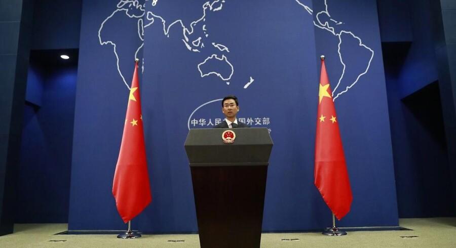 Arkivfoto: Talsmanden for Kinas udenrigsministerium, Geng Shuang, siger, at Kina støtter forhandlingerne mellem USA og Nordkorea. EPA/HOW HWEE YOUNG