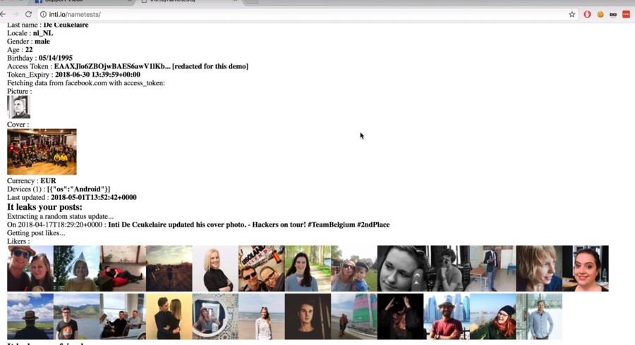 Den belgiske IT-sikkerhedsforsker og såkaldt etiske hacker Inti De Ceukelaire demonstrerer i en YouTube-video, hvordan et sikkerhedshul i en populær Facebook-quizzapp gør det muligt at tømme folks Facebook-profil for data.