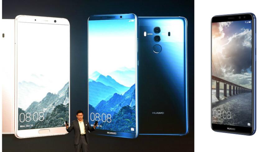 I mandags præsenterede Huaweis mobilchef, Richard Yu, de nye Mate 10 og 10 Pro-toptelefoner i München. Nu kommer den tekniske letvægtslillebror Mate 10 Lite (til højre), som kun koster halvdelen. Arkivfoto: Christof Stache, AFP/Scanpix
