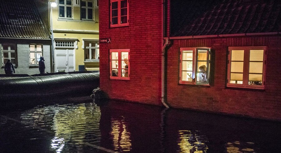 Stormflod i Faaborg. Fotograferet omkring Færgevej i Faaborg ca. en time før midnat d. 4. januar 2017.