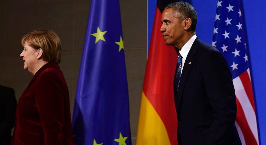 Merkel på en fælles pressekonference med USA's præsident, Barack Obama, i Berlin.