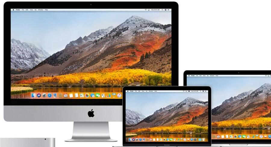 Apples nye udgave af styresystemet MacOS, High Sierra, rummede en farlig fejl, som hackere kunne udnytte til at få fuld kontrol med Mac-PCerne. Foto: Apple