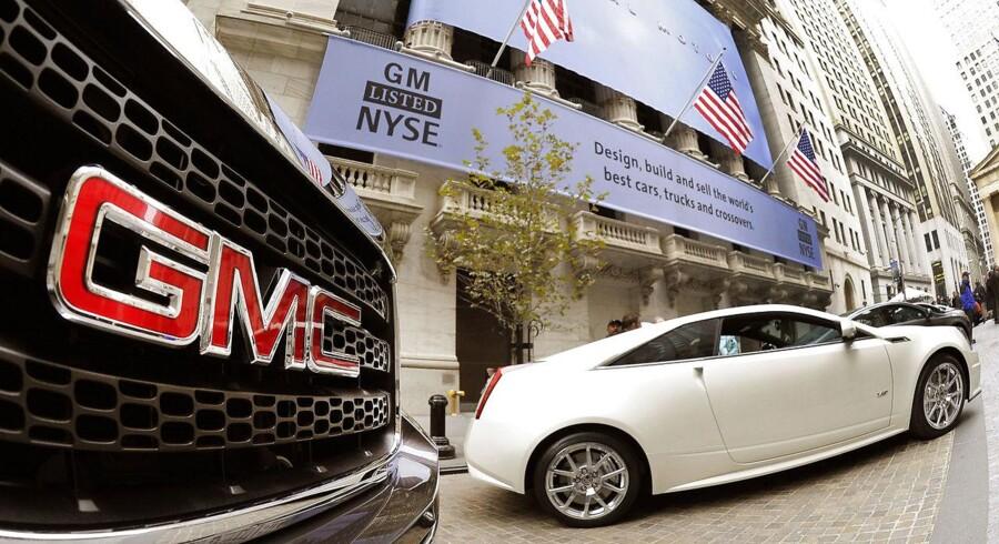 General Motors er blandt de amerikanske bilproducenter, som har oplevet et kursfald i kølvandet på den optrappede handelskonflikt. Arkivfoto: TIMOTHY A. CLARY / Ritzau Scanpix / AFP