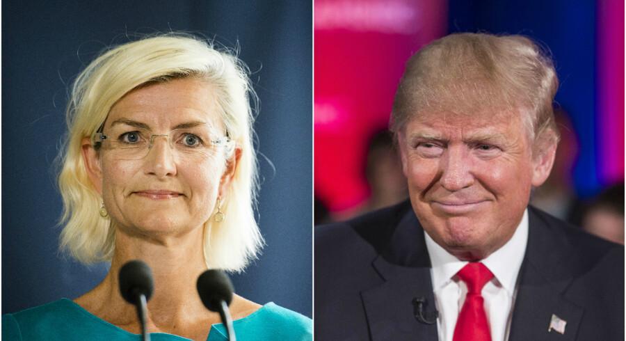 Den danske udviklingsminister, Ulla Tørnæs (V), og USAs præsident, Donald Trump.