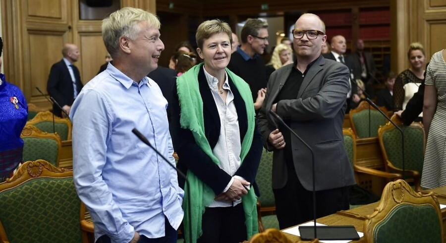 Arkivfoto: Uffe Elbæk, Josephine Fock og Rasmus Nordqvist i folketingssalen.