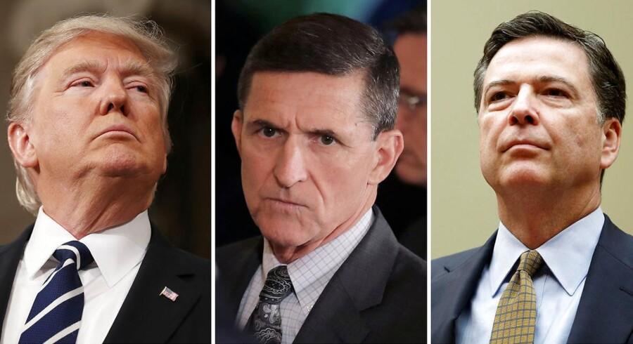 De tre mænd i centrum af nattens afsløring - præsident Donald Trump (tv.) forsøgte at presse FBi-chef James Comey (th.) til at droppe efterforskningen af den tidligere sikkrhedsrådgiver og hovedperson i Russiagate, Michael Flynn (i midten).