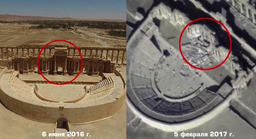 Et billede fra det russiske forsvarsministerium d 13. februar viser, hvordan det romerske amfiteater i Palmyra er blevet ødelagt af IS. AFP PHOTO / Russian Defence Ministry / HO