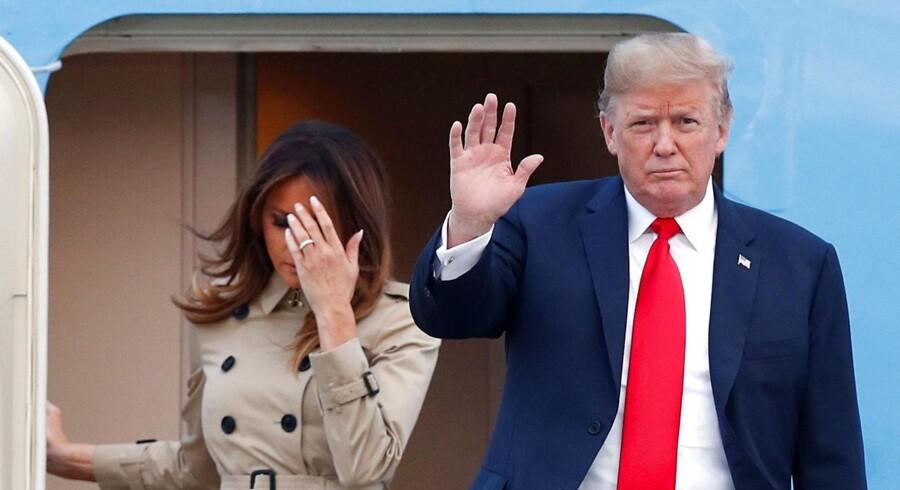 USAs præsident, Donald Trump, og førstedamen Melania Trump ankommer til Belgien for at deltage i NATOs topmøde. REUTERS/Francois Lenoir