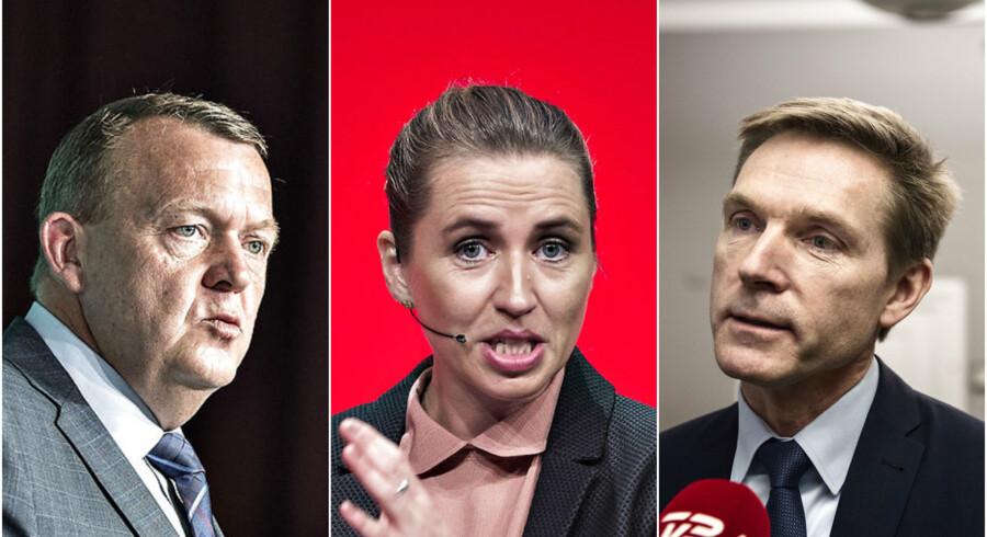 Statsminister Lars Løkke Rasmussen (V), Socialdemokratiets formand, Mette Frederiksen, og DF-formand Kristian Thulesen Dahl. Foto: Henning Bagger og Ida Guldbæk Arentsen / Scanpix