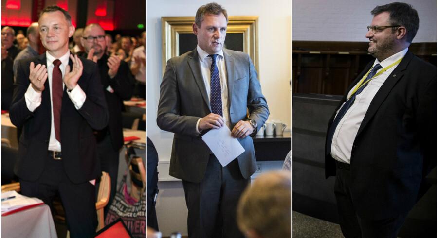Partisekretærerne for henholdsvis Socialdemokratiet, Venstre og de Konservative. Fra venstre mod højre: Jan Juul Christensen, Claus Richter og Søren Vandsø.