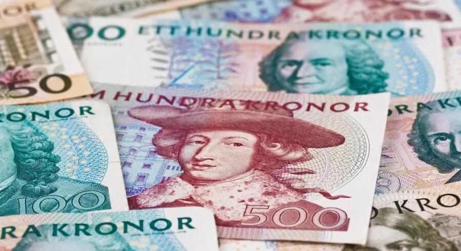 Den svenske krone falder over for en række valutaer tirsdag. Foto: Iris.