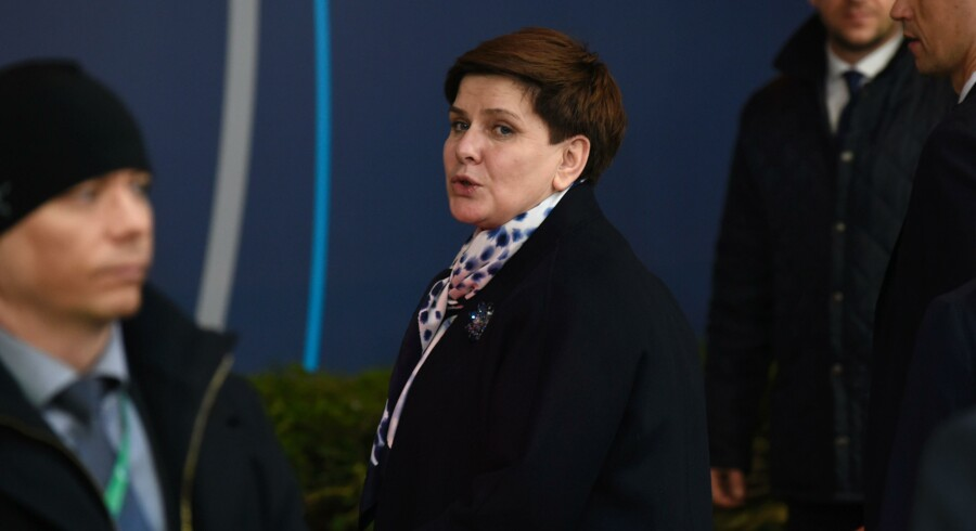 Polish Prime minister Beata Szydlo attends the European Union summit to discuss the ongoing refugee in Brussels on March 17, 2016. / AFP PHOTO / JOHN THYS