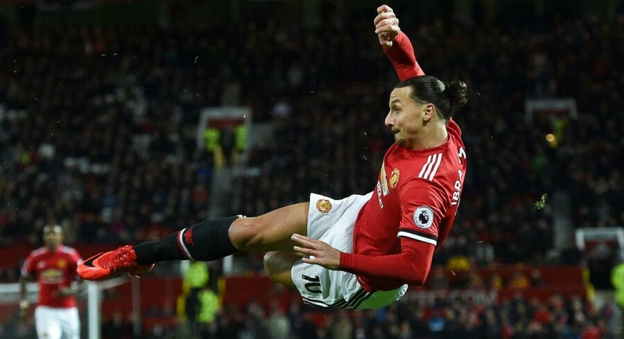 Manchester United's Swedish striker Zlatan Ibrahimovic attempts a bicycle kick shot which was saved during the English Premier League football match between Manchester United and Newcastle at Old Trafford in Manchester, north west England, on November 18, 2017. / AFP PHOTO / Oli SCARFF / RESTRICTED TO EDITORIAL USE.No use with unauthorized audio, video, data, fixture lists, club/league logos or 'live' services. Online in-match use limited to 75 images, no video emulation.No use in betting, games or single club/league/player publications. /
