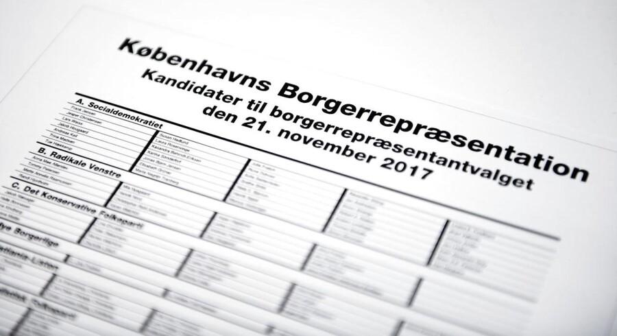 Stemmeseddel til Københavns Borgerrepræsentation.