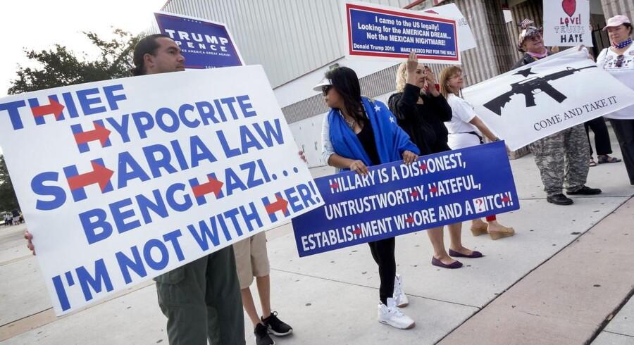 Her er nogle af Trumps trofaste støttere, som selv efter alle skandalerne er med ham. De anklager bl.a. Hillary for at ville indføre sharia-lov. Hvordan vil de reagere efter et Trump-nederlag?