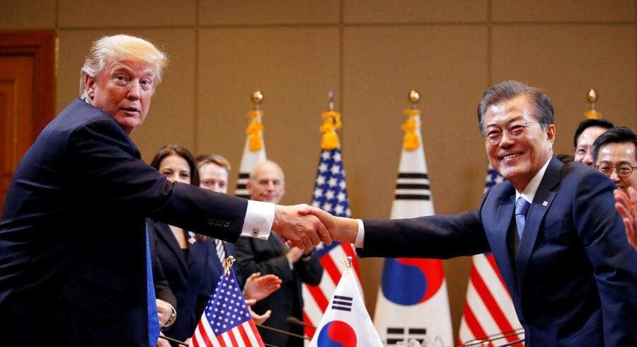 Amerikansk præsident Donald Trump og Sydkoreansk præsident Moon Jae-in.
