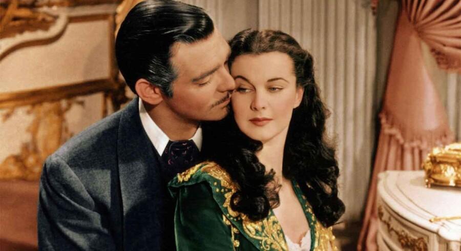 Clark Gable og Vivien Leigh som Rhett Butler og Scarlett O'Hara i »Borte med Blæsten« - for ufølsom for biografgæster i Memphis, Tennessee.