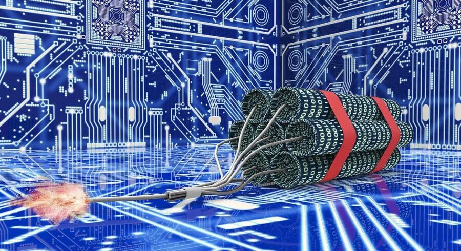 Mindst to gange om året bliver hver eneste dansk virksomhed forsøgt lagt ned af hackere, der kaprer computere med virus og får dem til at agere zombiehær og angribe bestemte netsteder, så de bukker under på grund af den ualmindeligt voldsomme trafik. Arkivfoto: Iris/Scanpix