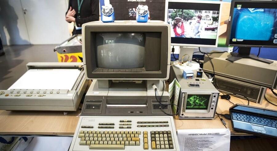 Sådan så de ud engang: En HP-9845c Model 200 fra 1980, som for nogle dage siden var med på en historisk computerfestival i Berlin. HPs udvalg er noget anderledes i dag, hvor selskabet fastholder positionen som den største i verden. Arkivfoto: Omer Messinger, EPA/Scanpix