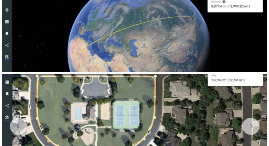 Træk en linie mellem to punkter og se afstanden, eller mærk et område af og få vist, hvor stort et areal det dækker. Det er nye muligheder i Google Earth. Fotos: Google